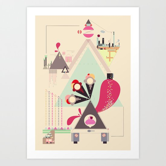 Icecream Volcano Art Print
