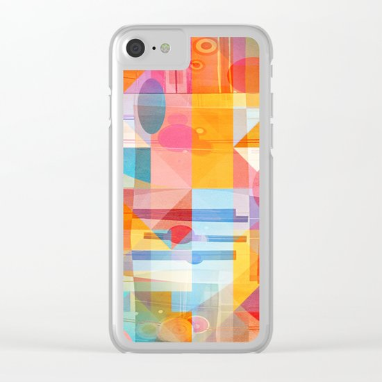 Whimsical Sunny Geometry Clear iPhone Case