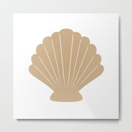 Seashell (Tan & White) Metal Print