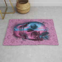 skull art decor pink Rug