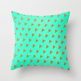Cool and Trendy Pizza Pattern in Super Acid green / turquoise / blue Throw Pillow