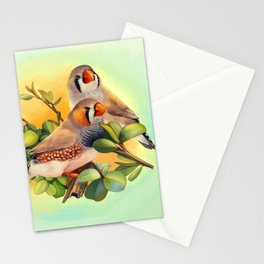 Zebra finches realistic painting Stationery Cards
