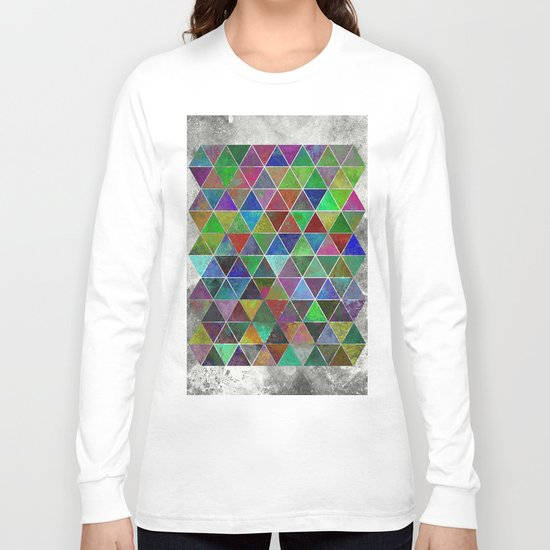 Textured Triangles - Abstract, textured, geometric, painting Long Sleeve T-shirt
