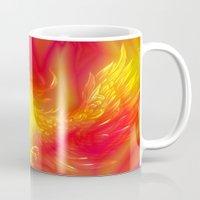 phoenix Mugs featuring Phoenix by Paula Belle Flores