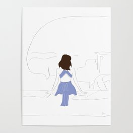 Santorini, Greece Wanderlust Fashion Travel Girl Poster