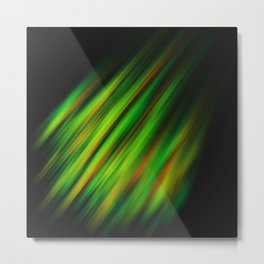 Colorful neon green brush strokes on dark gray Metal Print