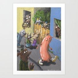 The Frivolous Sausage Art Print