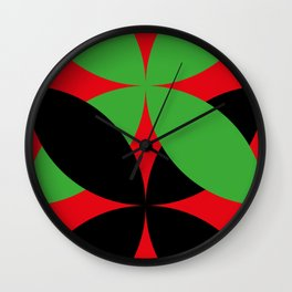 Two four-leaf clovers hugging in a beautiful deep red space. How lucky! Wall Clock