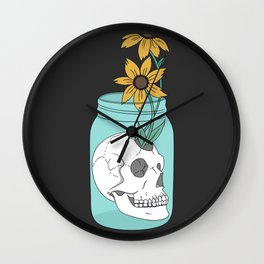 Skull in Jar with Flowers Wall Clock