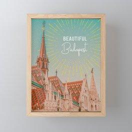 Budapest Retro Travel Poster Framed Mini Art Print