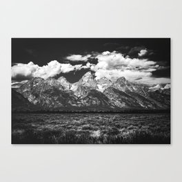 Mountain Summer Escape - Black and White Tetons Canvas Print