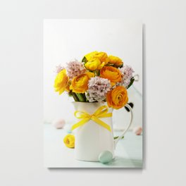 Beautiful spring flowers and Easter decorations Metal Print