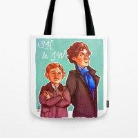 johnlock Tote Bags featuring Sherlock and John by Hattie Hedgehog