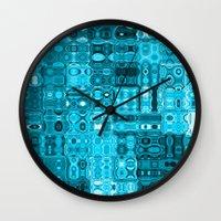blueprint Wall Clocks featuring Blueprint by Alice Gosling
