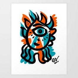 Blue Orange Cyclops Minimal Illustration Graffiti Art  Art Print