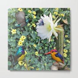 Cactus Flower Meeting Metal Print