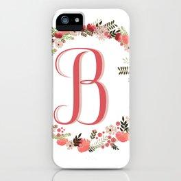 Personal monogram letter 'B' flower wreath iPhone Case