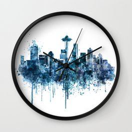 Seattle Skyline monochrome watercolor Wall Clock