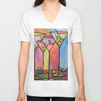 alcohol V-neck T-shirts featuring Martini Bar ... Abstract alcohol art by Amy Giacomelli