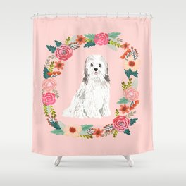 havanese floral wreath spring dog breed pet portrait gifts Shower Curtain