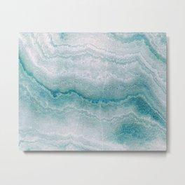 Sea green marble texture Metal Print