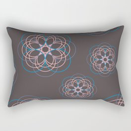 Boho Style Line Mandala Flowers, Pink Blue Purple Hippi Style Rectangular Pillow