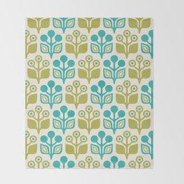 Mid Century Garden Flower Pattern Turquoise Chartreuse Throw Blanket