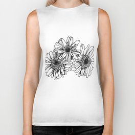 black and white flowers for my lover Biker Tank