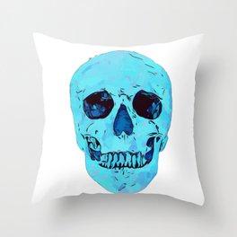 blue skull crystal glow Throw Pillow