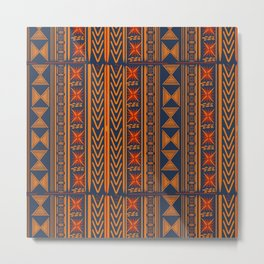Boho Mudcloth (Blue, Gold, Persimmon) Metal Print