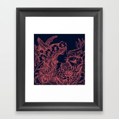 Woman with an Orchid Crown - navy and pink Framed Art Print