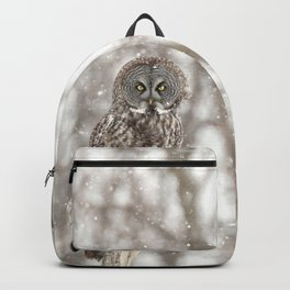 Great gray on a snowy day Backpack