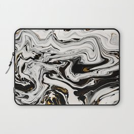 Black and Gold Liquid Paint Swirl Marble Pattern Laptop Sleeve