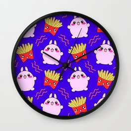 Cute sweet happy adorable Kawaii playful pink baby bunnies, yummy happy funny French fries cartoon midnight blue pattern design. Favorite comfort food. Wall Clock