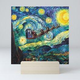 Tardis Art Flying Starry Night Mini Art Print