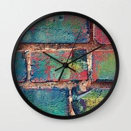 The Rainbow Brick Wall Wall Clock