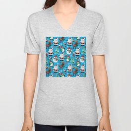 Santa Claus, Snowmen, Reindeer and Christmas Trees Pattern Unisex V-Neck
