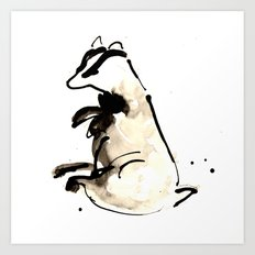 Sitting Badger Art Print