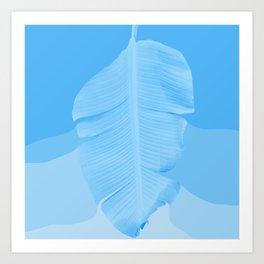 Tropical Banana Leave Pastel Blue Ombre Design Art Print