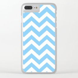Light sky blue - turquoise color - Zigzag Chevron Pattern Clear iPhone Case