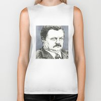 ron swanson Biker Tanks featuring Ron Swanson by Molly Morren