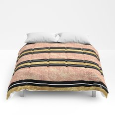 Simple rose gold stripes pattern Comforters