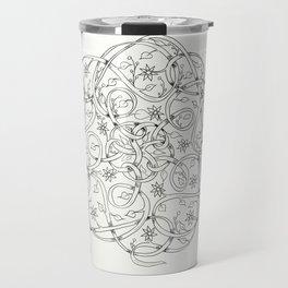 Celtic Swirl Mandala Black & White Travel Mug