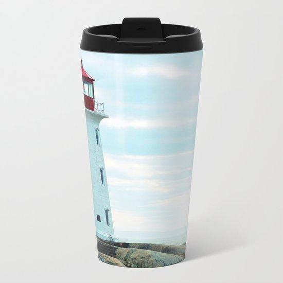 Old Lighthouse, Blue Ocean Metal Travel Mug