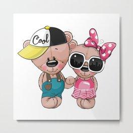 Teddy Bear Couple Metal Print