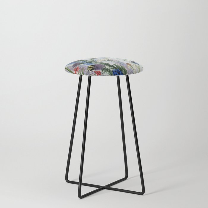 Wildflower in Garden Watercolor Flower Illustration Painting Counter Stool