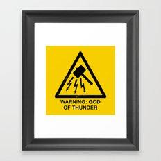 Warning: God of Thunder Framed Art Print