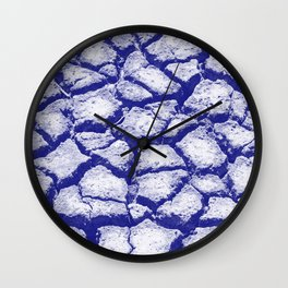 Climate change - Dry blue cracked ground - Organic pattern Wall Clock