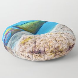 Ornate Wrasse (Thalassoma Pavo) Colorful Fish Underwater Floor Pillow