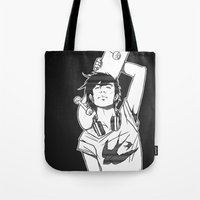 skateboard Tote Bags featuring SKATEBOARD by FISHNONES